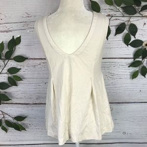 Madewell Tops - Madewell Size XS Ivory Low Back Pleated Tank Top